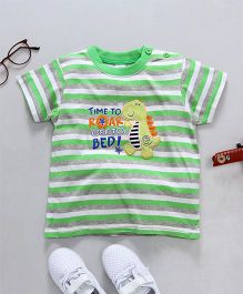 Baby Yi Dragon Applique Striped Tee - Green
