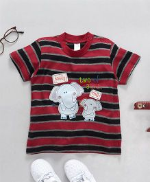 Baby Yi Elephant Applique Striped Tee - Maroon