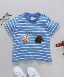 Baby Yi Animal Applique Striped Tee - Blue