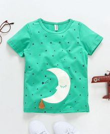 Baobaoshu Star & Moon Print Tee - Green