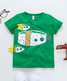 Baobaoshu Rocket Printed Tee - Green