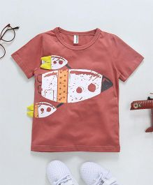 Baobaoshu Rocket Printed Tee - Red