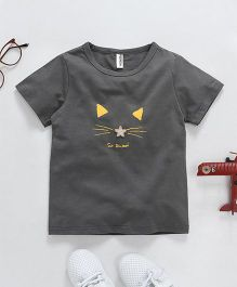 Baobaoshu Cat Face Printed Tee - Grey