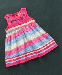 Sunny Baby Sleeveless Stripe Frock Floral Embroidery - Pink Multicolour
