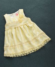 Sunny Baby Sleeveless Frock Flower Applique - Yellow
