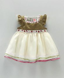 Sunny Baby Ruffle Sleeves Frock - Off White Golden