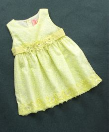 Sunny Baby Sleeveless Frock Floral Appliques -Yellow