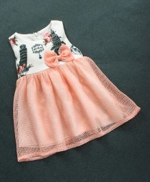 Sunny Baby Sleeveless Frock Bow Applique - White Peach