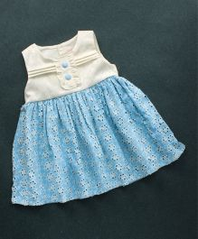 Sunny Baby Sleeveless Hakoba Frock Floral Embroidery - White Sky Blue
