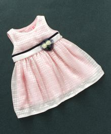 Sunny Baby Sleeveless Check Frock Floral Applique - Pink