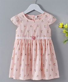 Weiweibei Flower Pint Cap Sleeves Dress - Pink