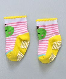 Mustang Ankle Length Anti Skid Socks Stripes Design - Yellow Pink