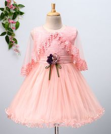 Mengbaobao Floral Embroidery Cape Dress - Peach