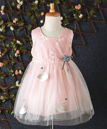 Yiduduo Floral Embroidered Dress With Swan Applique - Peach