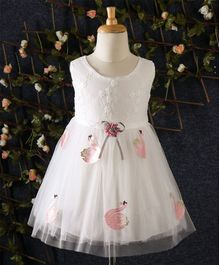 Yiduduo Floral Embroidered Dress With Swan Applique - White