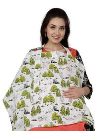 Color Fly Feeding & Nursing Cover Nature Print - White Green
