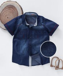 DKL Half Sleeves Washed Style Denim Shirt - Dark Blue
