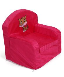 Lovely Sofa Chair Kitty Embroidery - Dark Pink