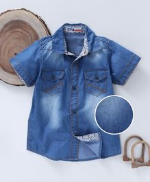 DKL Solid Print Denim Shirt - Blue