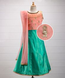 Enfance Sleeveless Designer Ghagra Choli Dupatta Set - Peach & Green