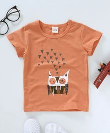 Here Owl Print Tee - Light Orange