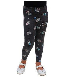 D'chica Cuteness Alert Printed Leggings - Black
