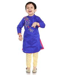 Little Pockets Store Embroidered Sherwani Set - Blue
