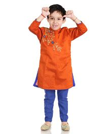 Little Pockets Store Embroidered Sherwani Set - Brown
