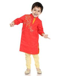 Little Pockets Store Embroidered Sherwani Set - Red