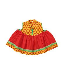 Little Pockets Store Printed Cotton Anarkali Kurti - Red