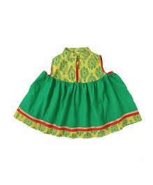 Little Pockets Store Printed Cotton Anarkali Kurti - Green