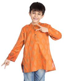 Little Pockets Store Printed Kurta - Orange