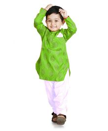 Little Pockets Store Printed Pathani Set - Green
