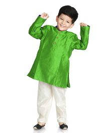 Little Pockets Store Solid Kurta Pajama Set - Green