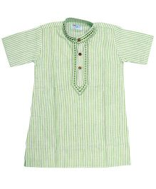 Little Pockets Store Vertical Line Cotton Kurta - Green