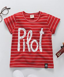 Here Pilot Print Striped Tee - Red