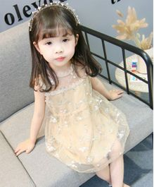 Pre Order - Tickles 4 U Flower Embroidered Dress - Yellow