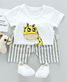 Pre Order - Tickles 4 U Girrafe Tee & Shorts Set - White