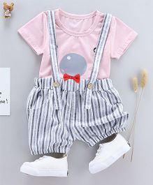 Pre Order - Tickles 4 U Tee & Stripes Dungaree Shorts Set - Pink
