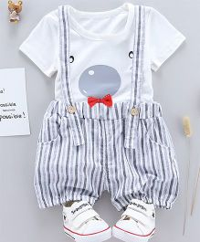 Pre Order - Tickles 4 U Tee & Stripes Dungaree Shorts Set - White