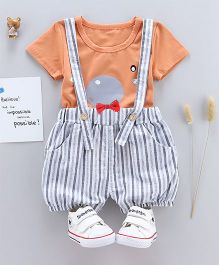 Pre Order - Tickles 4 U Tee & Stripes Dungaree Shorts Set - Orange