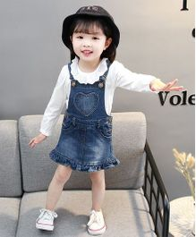 Pre Order - Awabox Smart Denim Wear Dungaree Style Skirt - Denim Blue