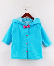 Pre Order - Awabox Solid Raincoat With A Bow - Blue