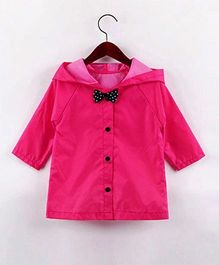 Pre Order - Awabox Solid Raincoat With A Bow - Rose Red