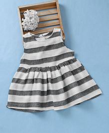 Fashion Baby Striped Dress - Grey & White