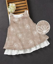 Fashion Baby Flower Print Dress - Cream