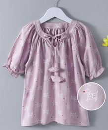 Fashion Baby Dog Print Full Sleeves Top - Purple