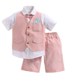 KIDS CLAN Shirt With Attached Waistcoat & Shorts - Baby pink & White