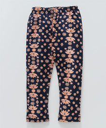 Earth Conscious Floral Printed Leggings - Navy Blue