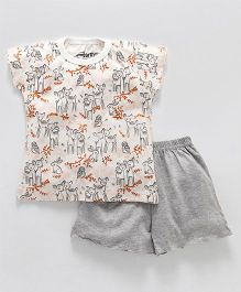 Earth Conscious Deer Print T-Shirt & Shorts - Cream